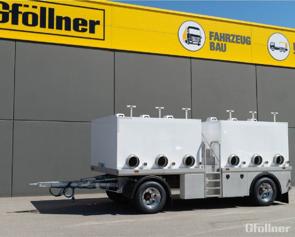 2-axle trailer chassis to accommodate a plastic tank